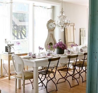 Beautiful shabby chic dining room decor ideas 34