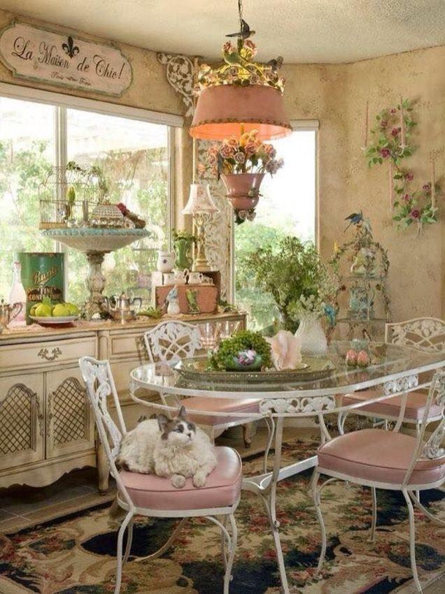 Beautiful shabby chic dining room decor ideas 49