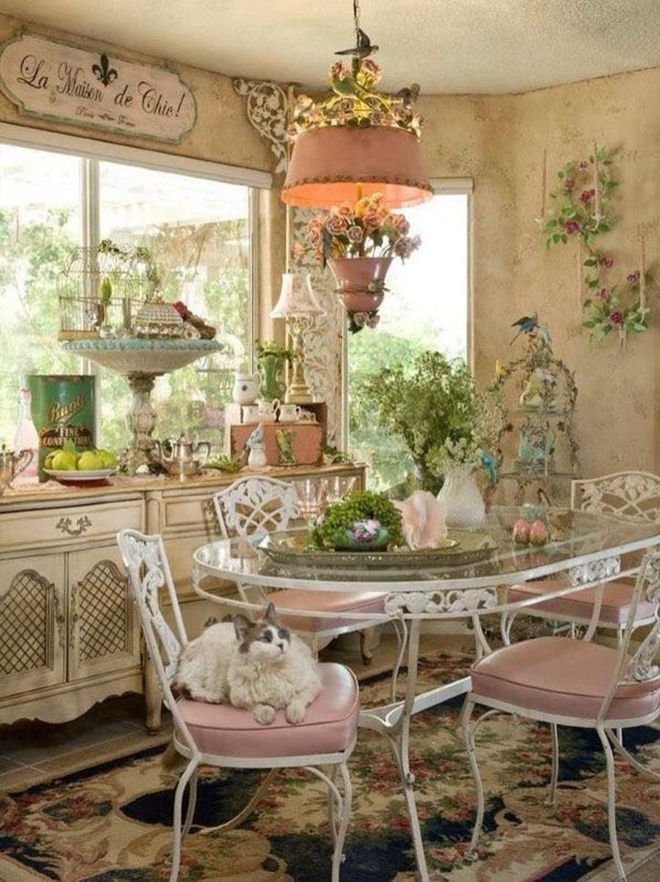 Beautiful shabby chic dining room decor ideas 49