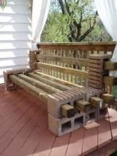 Cinder block furniture backyard 01