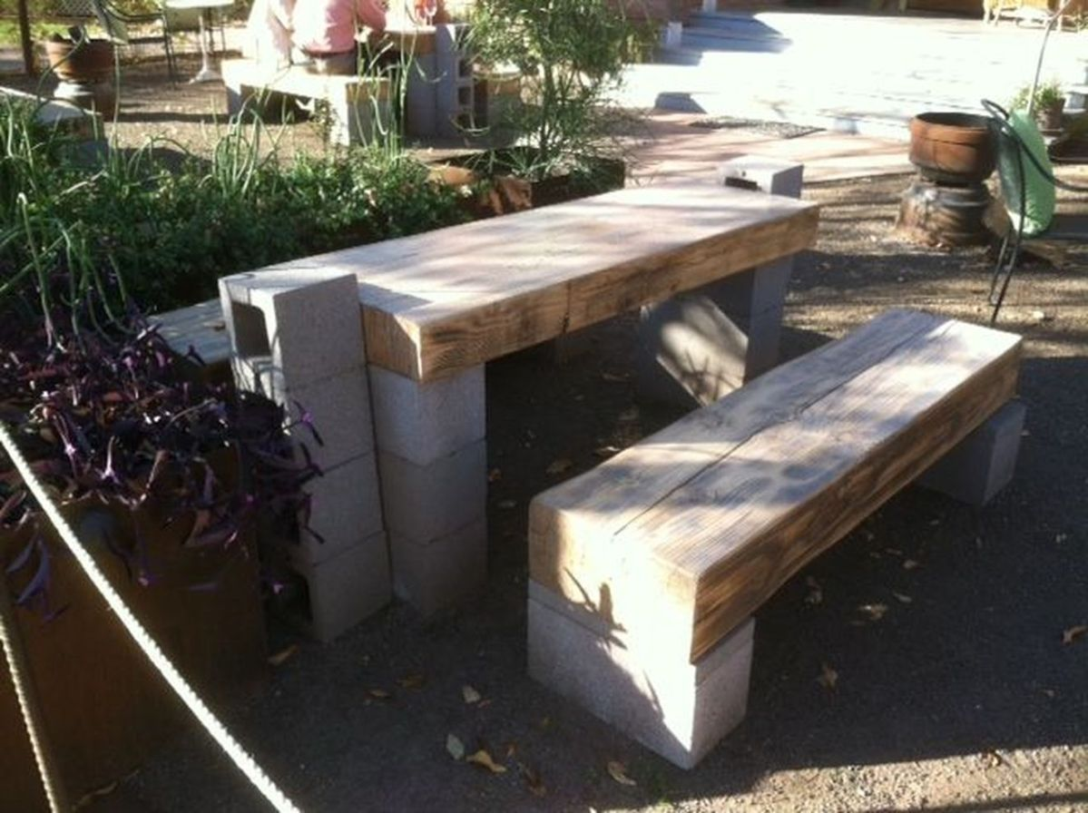 Cinder block furniture backyard 14