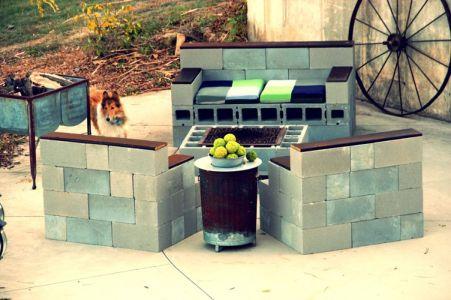 Cinder block furniture backyard 30