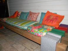 Cinder block furniture backyard 36