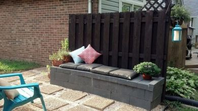 Cinder block furniture backyard 39