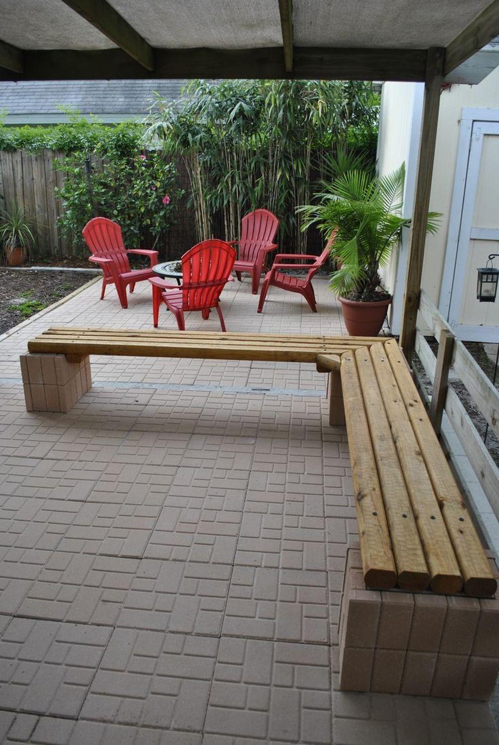 Cinder block furniture backyard 47