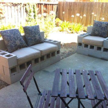 Cinder block furniture backyard 53