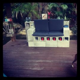 Cinder block furniture backyard 57