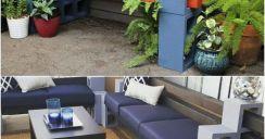 Cinder block furniture backyard 60