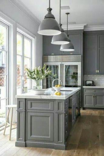 Cool grey kitchen cabinet ideas 76