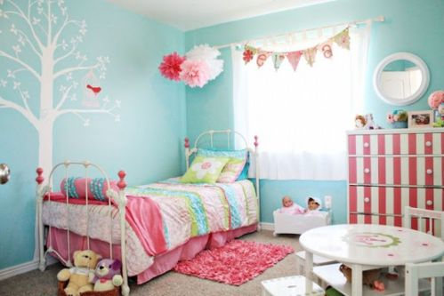 Cute bedroom design ideas with pink and green walls 01