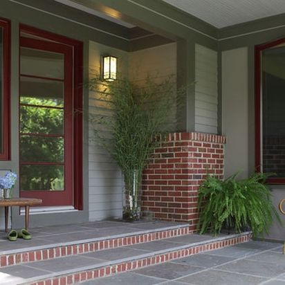 Exterior paint color ideas with red brick 54
