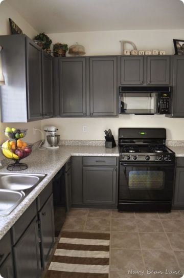 Gray color kitchen cabinets 12