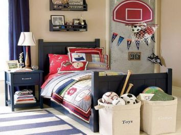 Inspiring bedroom design ideas for boy who loves basketball 34