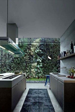 Kitchens design ideas with green walls 11