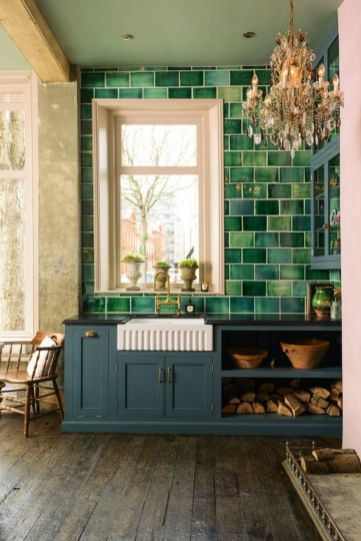Kitchens design ideas with green walls 12