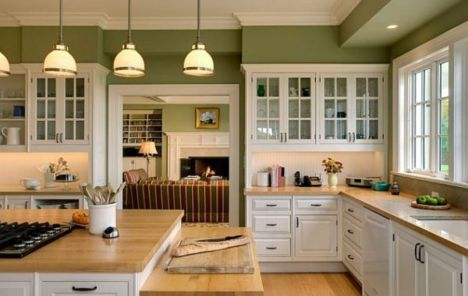 Kitchens design ideas with green walls 21