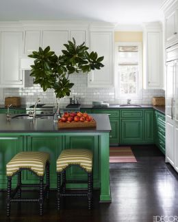 Kitchens design ideas with green walls 25