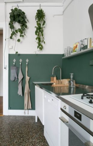 Kitchens design ideas with green walls 46