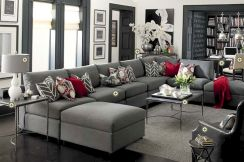 Stunning gray and white living room decor ideas 55