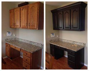 Stylish dark brown cabinets kitchen 01