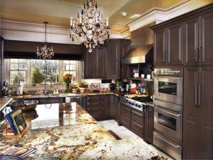 Stylish dark brown cabinets kitchen 13
