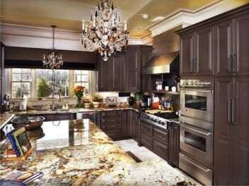 Stylish dark brown cabinets kitchen 13