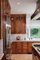 Stylish dark brown cabinets kitchen 17