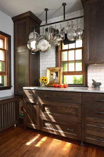 Stylish dark brown cabinets kitchen 20