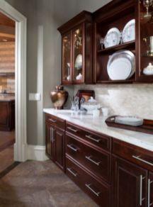 Stylish dark brown cabinets kitchen 28