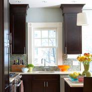 Stylish dark brown cabinets kitchen 37