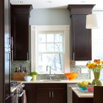 Stylish dark brown cabinets kitchen 37