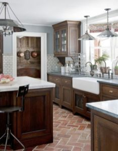 Stylish dark brown cabinets kitchen 45