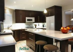 Stylish dark brown cabinets kitchen 50