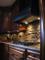 Stylish dark brown cabinets kitchen 51