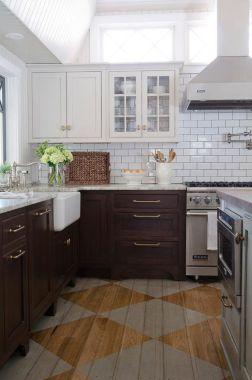 Stylish dark brown cabinets kitchen 55