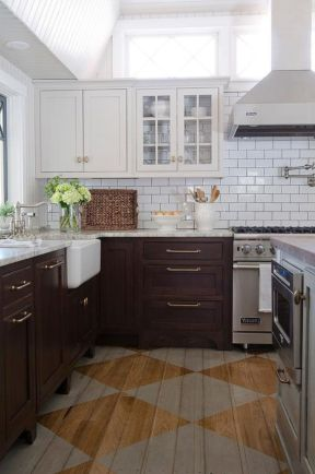 Stylish dark brown cabinets kitchen 55