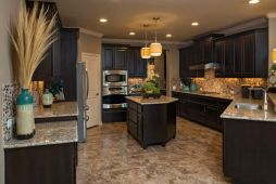 Stylish dark brown cabinets kitchen 57