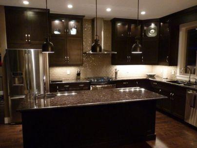 Stylish dark brown cabinets kitchen 71