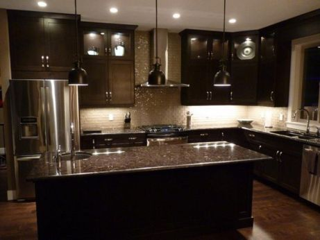 Stylish dark brown cabinets kitchen 71