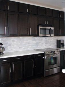 Stylish dark brown cabinets kitchen 72
