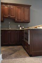 Stylish dark brown cabinets kitchen 75