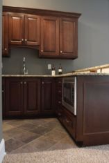 Stylish dark brown cabinets kitchen 75