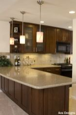 Stylish dark brown cabinets kitchen 76