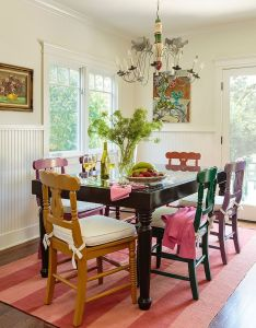 Stylish painted dining room table 15