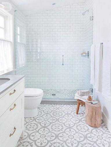 Stylish white subway tile bathroom 13