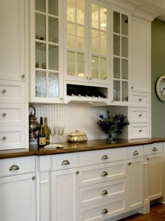 Wood and glass kitchen cabinets 12