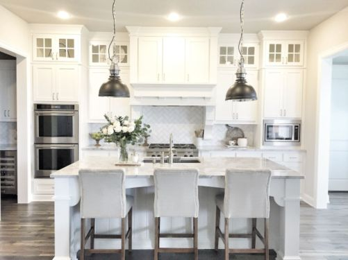 Wood and glass kitchen cabinets 15