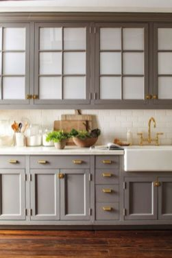 Wood and glass kitchen cabinets 16