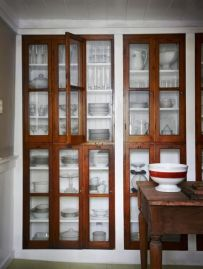 Wood and glass kitchen cabinets 18