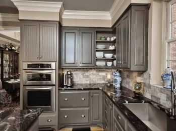 Wood and glass kitchen cabinets 23